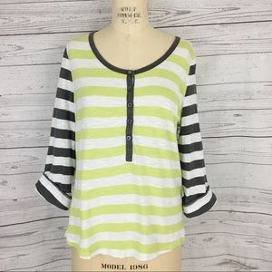 Boden Henley striped roll tab top